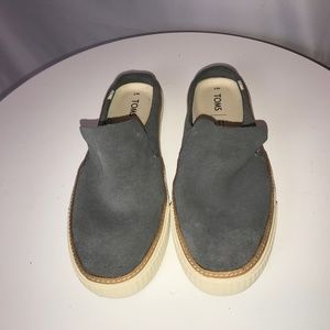 NWT Toms Grey Suede Mules - 7
